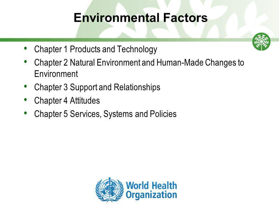 Environmental Factors Chapter 1 Products and Technology Chapter 2 Natural Environment and Human-Made Changes to Environment Chapter 3 Support and Relationships Chapter 4 Attitudes Chapter 5 Services, Systems and Policies