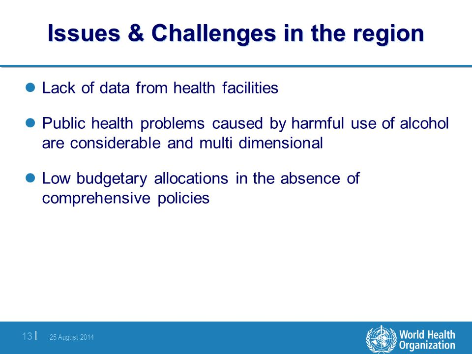 25 August 2014 13 | Issues & Challenges in the region Lack of data from health facilities Public health problems caused by harmful use of alcohol are