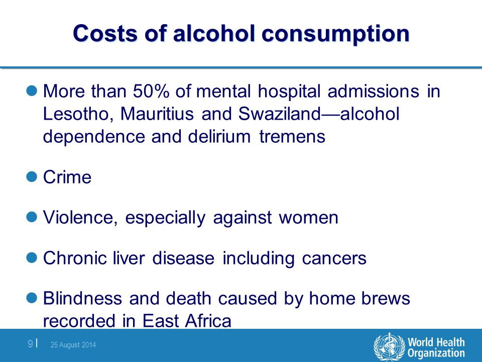 25 August 2014 9 |9 | Costs of alcohol consumption More than 50% of mental hospital admissions in Lesotho, Mauritius and Swaziland—alcohol dependence