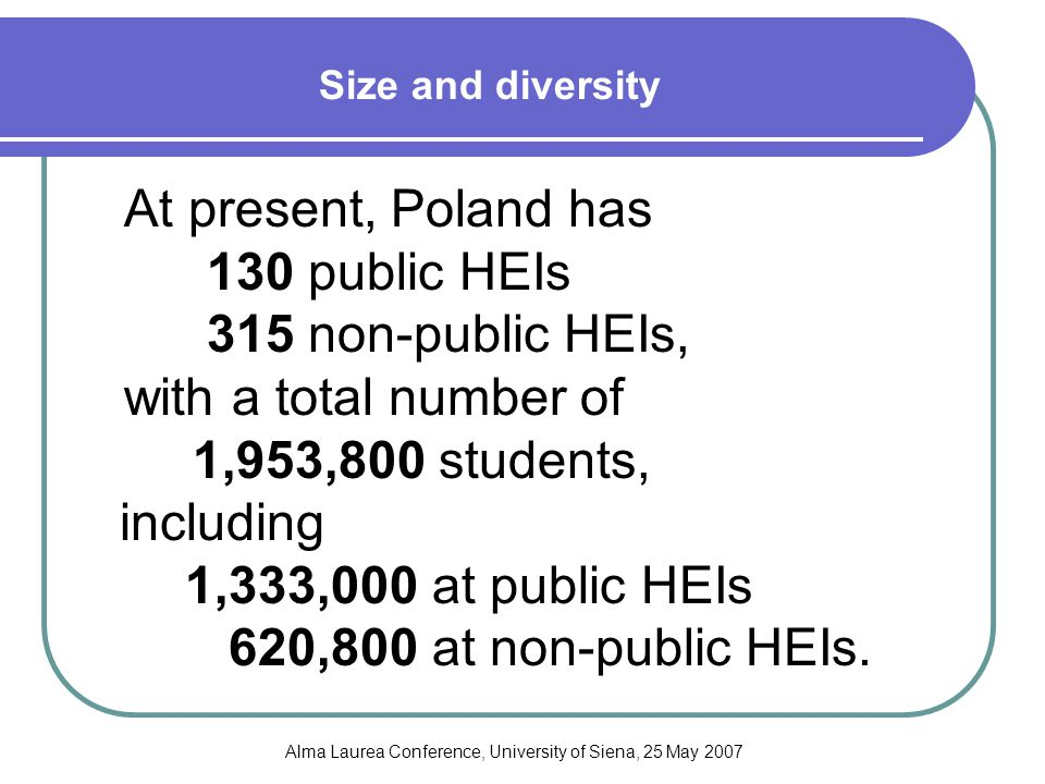 Alma Laurea Conference, University of Siena, 25 May 2007 Size and diversity At present, Poland has 130 public HEIs 315 non-public HEIs, with a total number of 1,953,800 students, including 1,333,000 at public HEIs 620,800 at non-public HEIs.