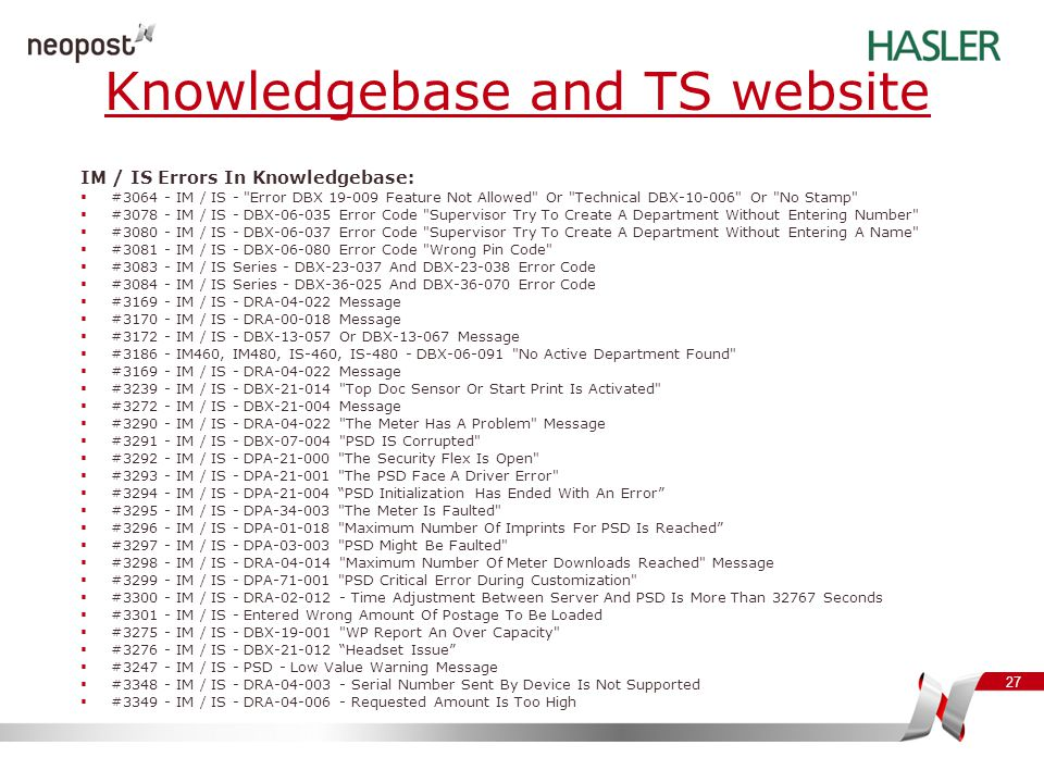 27 IM / IS Errors In Knowledgebase:  #3064 - IM / IS -