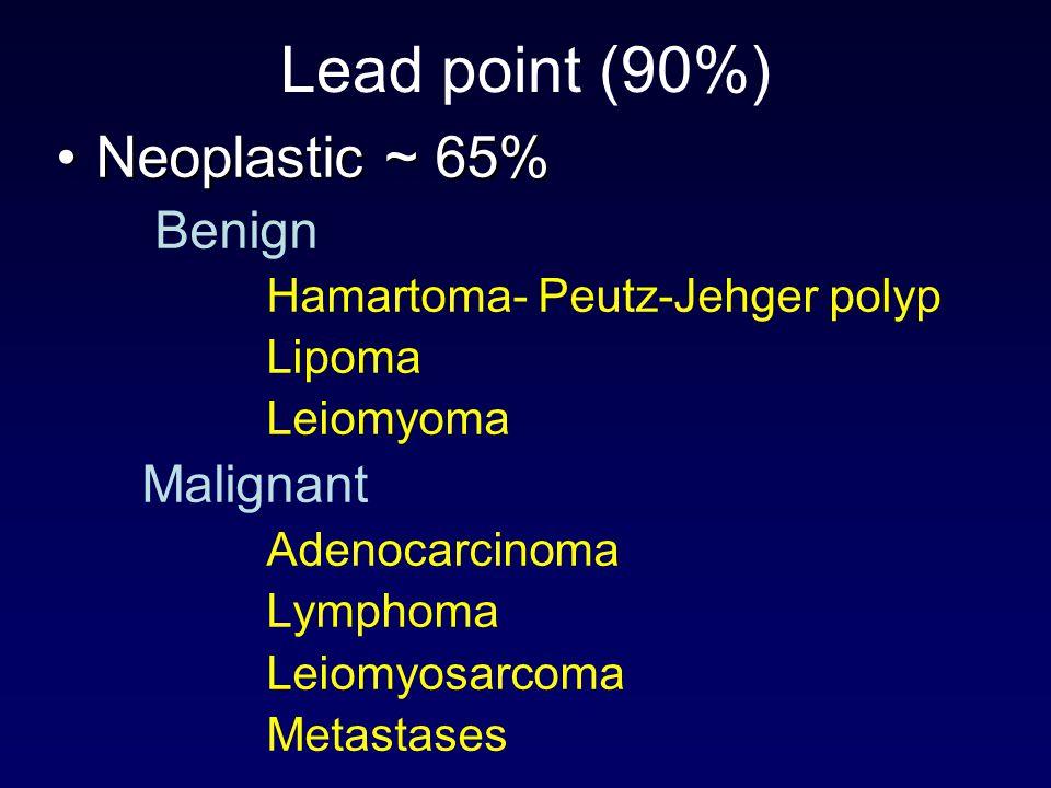 Lead point (90%) Neoplastic ~ 65%Neoplastic ~ 65% Benign Hamartoma- Peutz-Jehger polyp Lipoma Leiomyoma Malignant Adenocarcinoma Lymphoma Leiomyosarco