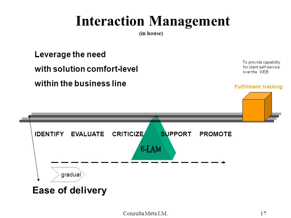 Consulta Meta I.M.17 Interaction Management IDENTIFYEVALUATECRITICIZESUPPORTPROMOTE Leverage the need with solution comfort-level within the business line Ease of delivery To provide capability for client self-service over the WEB gradual Fulfillment tracking (in house)