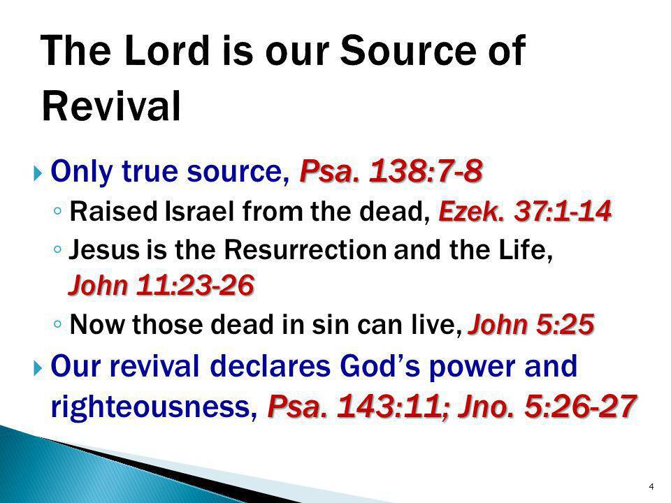 Psa. 138:7-8  Only true source, Psa. 138:7-8 Ezek.