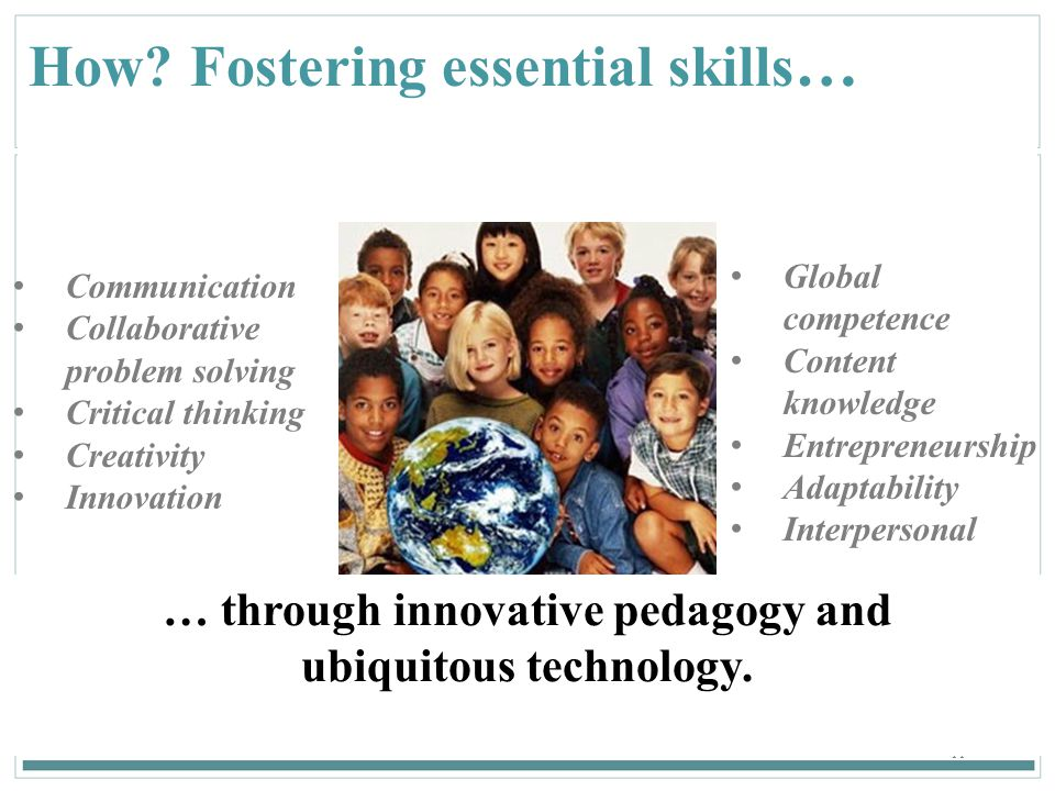 11 How? Fostering essential skills … Communication Collaborative problem solving Critical thinking Creativity Innovation … through innovative pedagogy