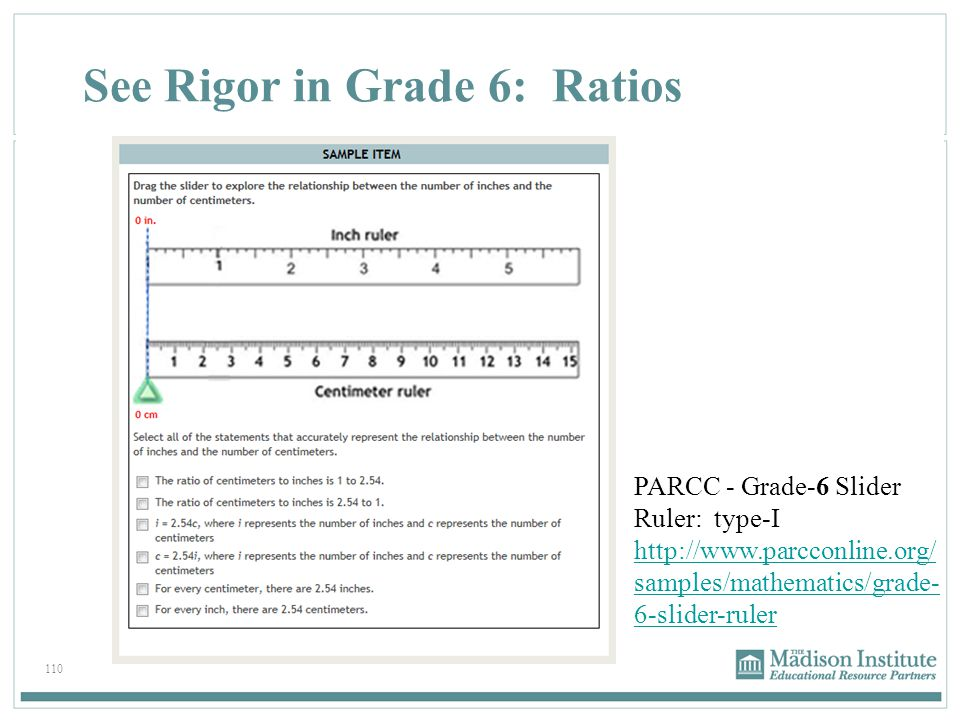110 See Rigor in Grade 6: Ratios PARCC - Grade-6 Slider Ruler: type-I http://www.parcconline.org/ samples/mathematics/grade- 6-slider-ruler http://www