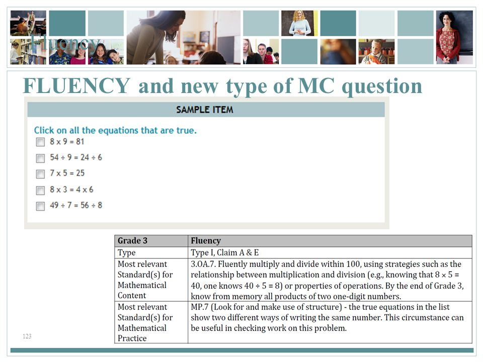 123 Fluency FLUENCY and new type of MC question
