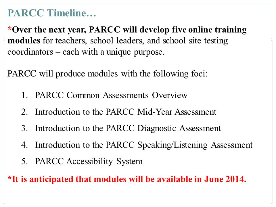 164 PARCC Timeline… *Over the next year, PARCC will develop five online training modules for teachers, school leaders, and school site testing coordin