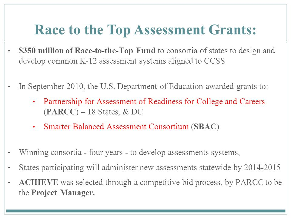 21 Race to the Top Assessment Grants: $350 million of Race-to-the-Top Fund to consortia of states to design and develop common K-12 assessment systems