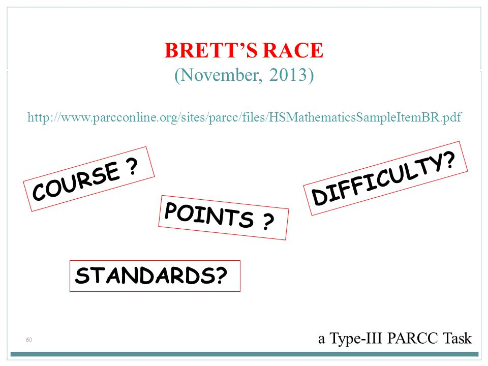 60 BRETT'S RACE (November, 2013) http://www.parcconline.org/sites/parcc/files/HSMathematicsSampleItemBR.pdf a Type-III PARCC Task COURSE ? POINTS ? DI