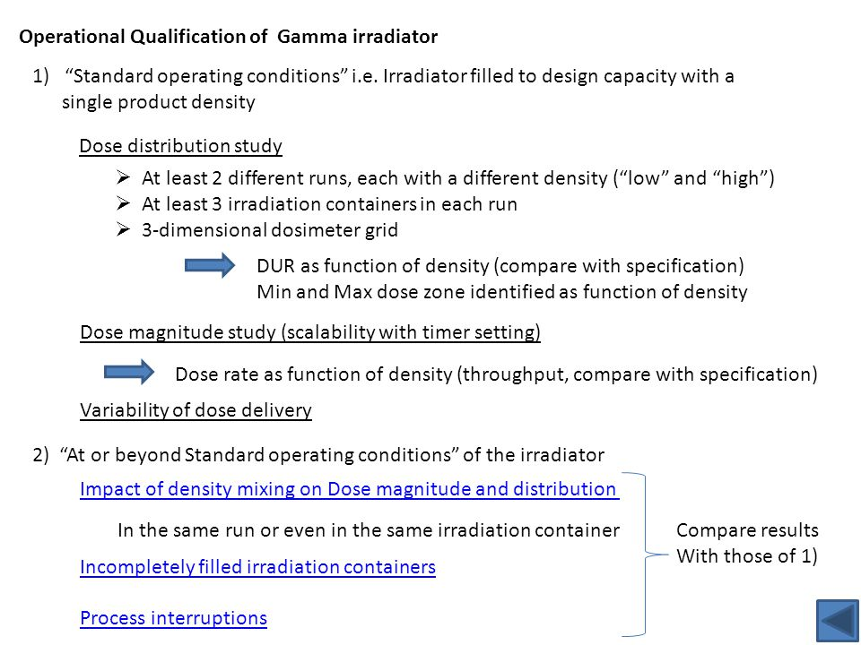 """Operational Qualification of Gamma irradiator 1)""""Standard operating conditions"""" i.e. Irradiator filled to design capacity with a single product densit"""