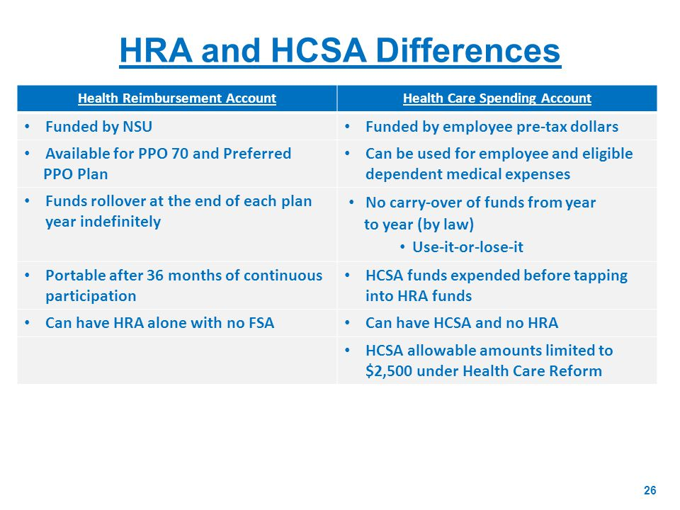 HRA and HCSA Differences 26 Health Reimbursement AccountHealth Care Spending Account Funded by NSU Funded by employee pre-tax dollars Available for PPO 70 and Preferred PPO Plan Can be used for employee and eligible dependent medical expenses Funds rollover at the end of each plan year indefinitely No carry-over of funds from year to year (by law) Use-it-or-lose-it Portable after 36 months of continuous participation HCSA funds expended before tapping into HRA funds Can have HRA alone with no FSA Can have HCSA and no HRA HCSA allowable amounts limited to $2,500 under Health Care Reform