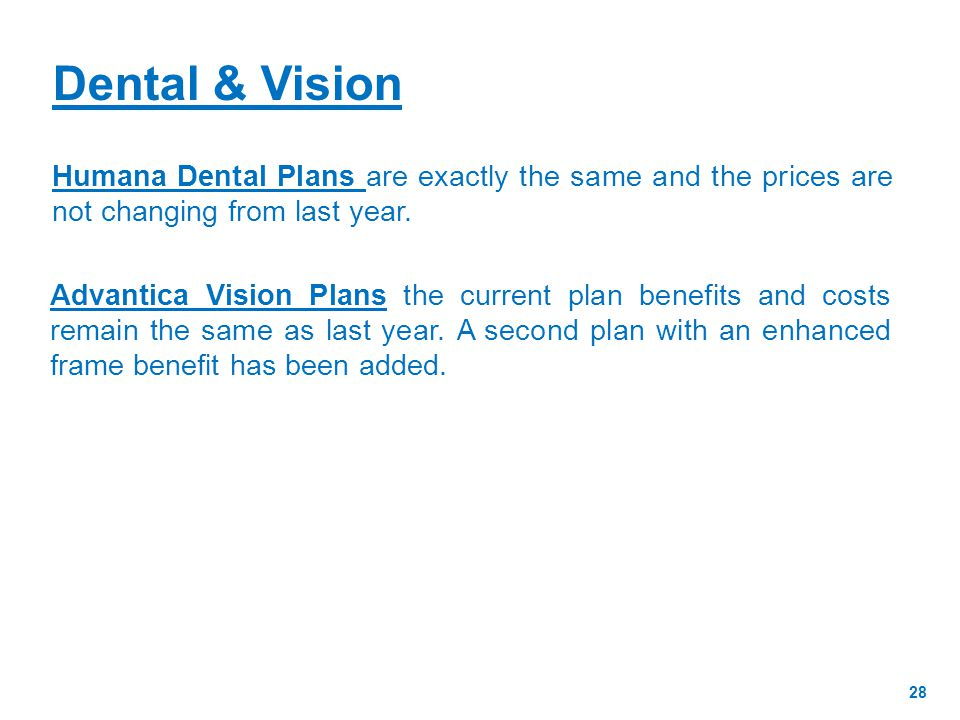 Humana Dental Plans are exactly the same and the prices are not changing from last year.