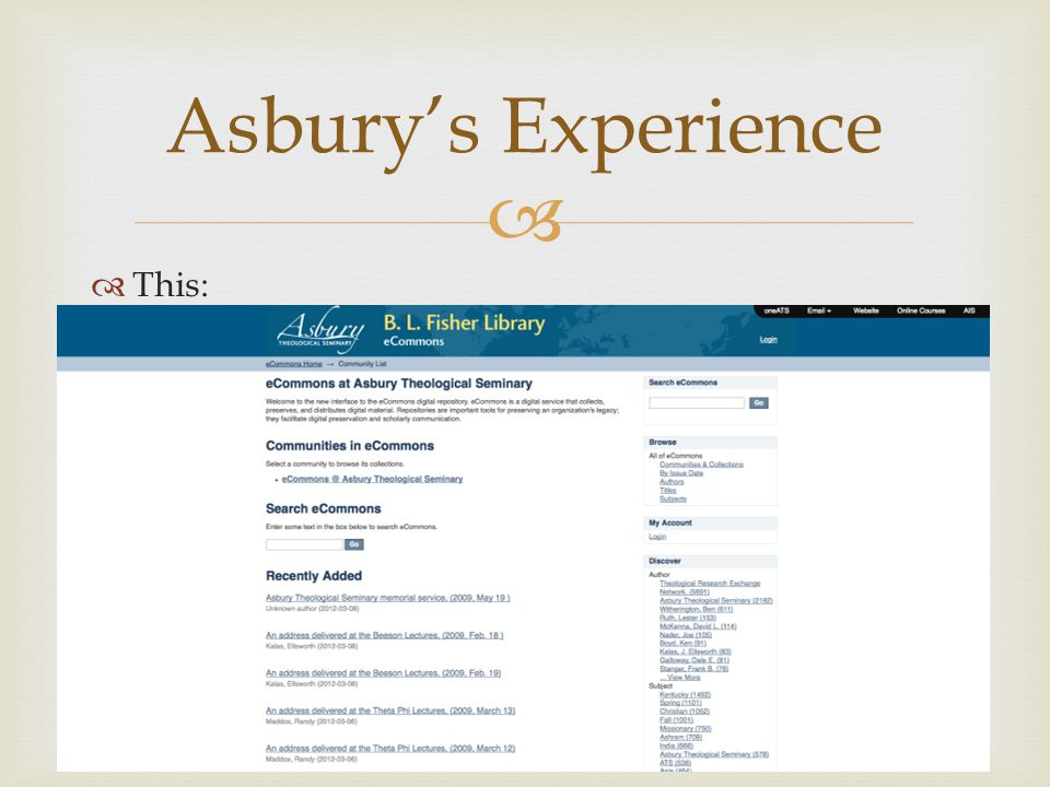   This: Asbury's Experience