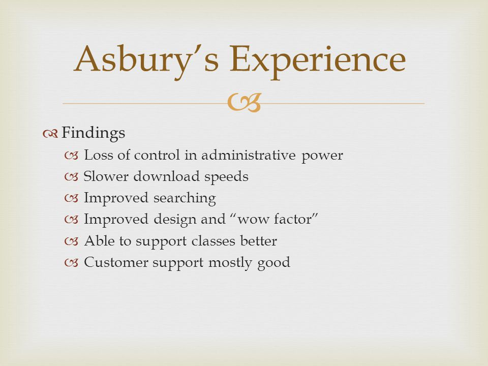   Findings  Loss of control in administrative power  Slower download speeds  Improved searching  Improved design and wow factor  Able to support classes better  Customer support mostly good Asbury's Experience