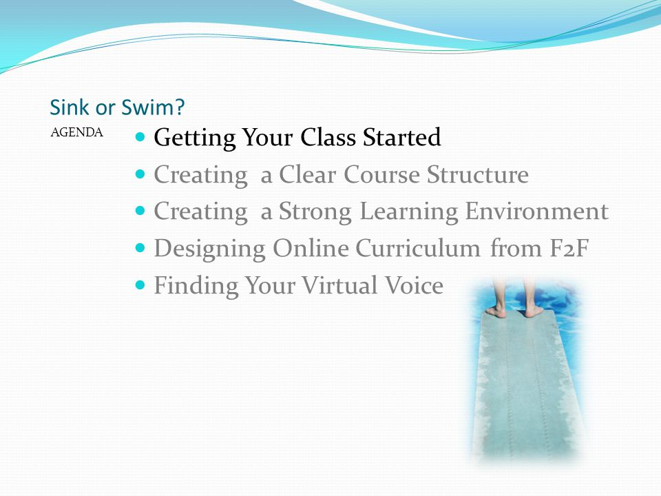 Sink or Swim? AGENDA Getting Your Class Started Creating a Clear Course Structure Creating a Strong Learning Environment Designing Online Curriculum f