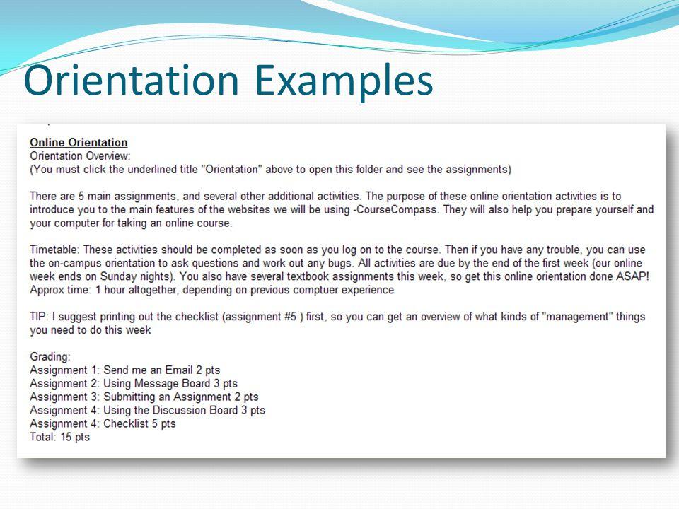 Orientation Examples
