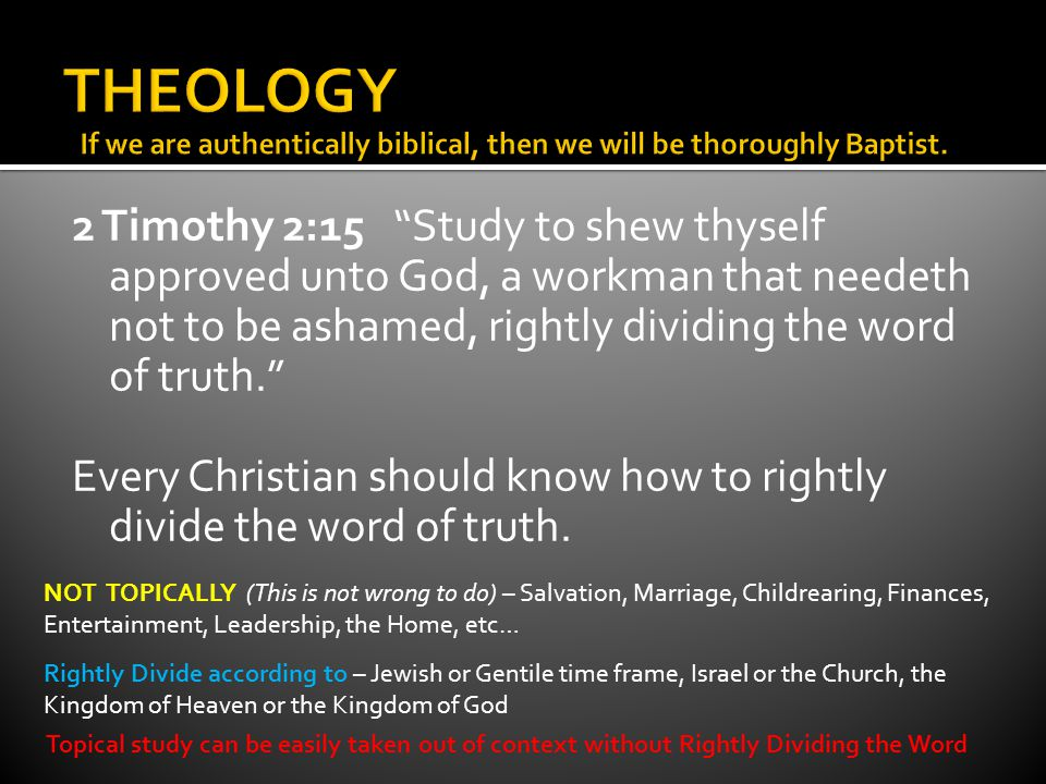 Covenant Theology Pre-millennial Post-millennial 2 Timothy 2:15 Study to shew thyself approved unto God, a workman that needeth not to be ashamed, rightly dividing the word of truth.
