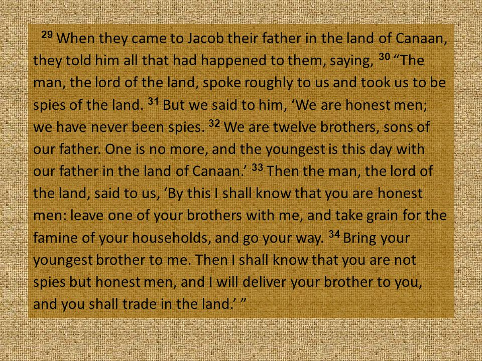 29 When they came to Jacob their father in the land of Canaan, they told him all that had happened to them, saying, 30 The man, the lord of the land, spoke roughly to us and took us to be spies of the land.