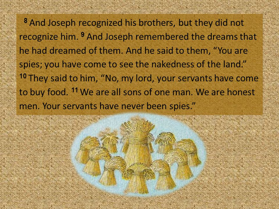 8 And Joseph recognized his brothers, but they did not recognize him.