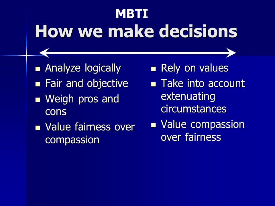 How we make decisions Analyze logically Analyze logically Fair and objective Fair and objective Weigh pros and cons Weigh pros and cons Value fairness