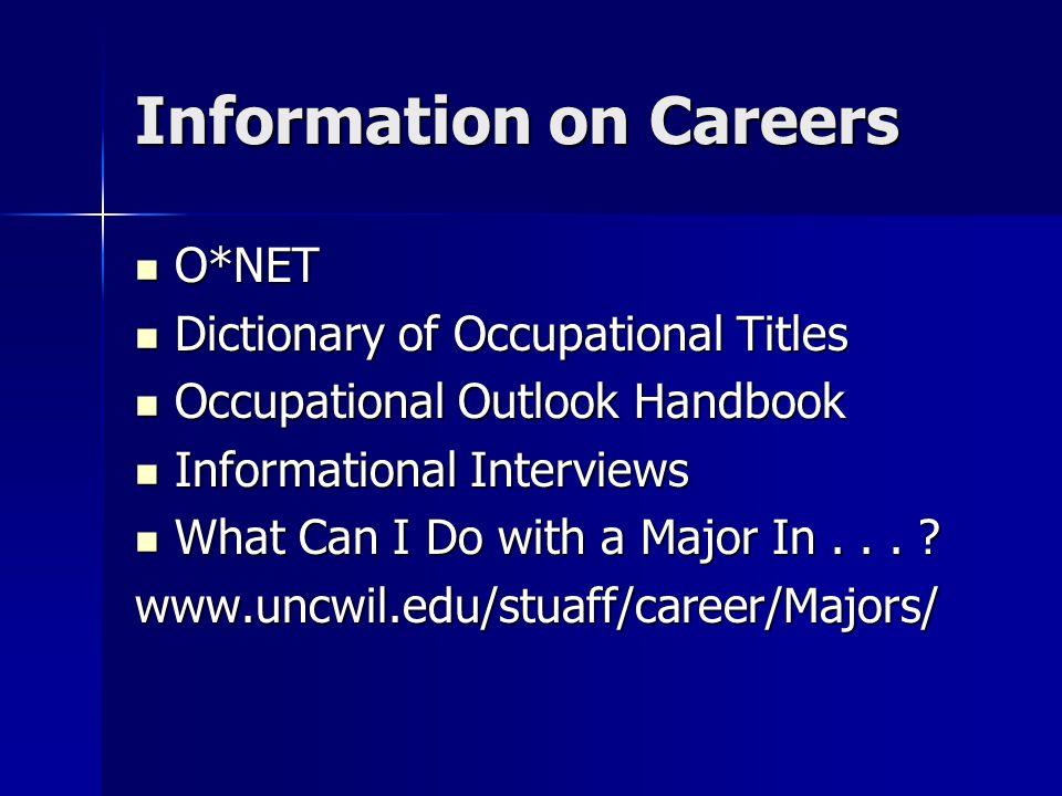 Information on Careers O*NET O*NET Dictionary of Occupational Titles Dictionary of Occupational Titles Occupational Outlook Handbook Occupational Outl