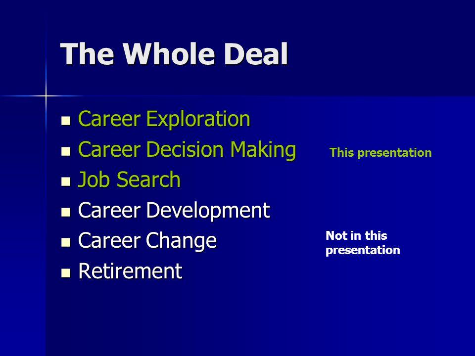 The Whole Deal Career Exploration Career Exploration Career Decision Making Career Decision Making Job Search Job Search Career Development Career Dev