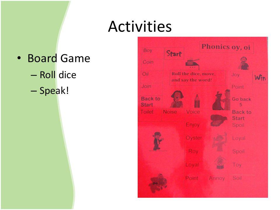 Activities Board Game – Roll dice – Speak!