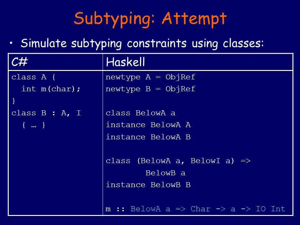 Subtyping: Attempt Simulate subtyping constraints using classes: C#Haskell class A { int m(char); } class B : A, I { … } newtype A = ObjRef newtype B