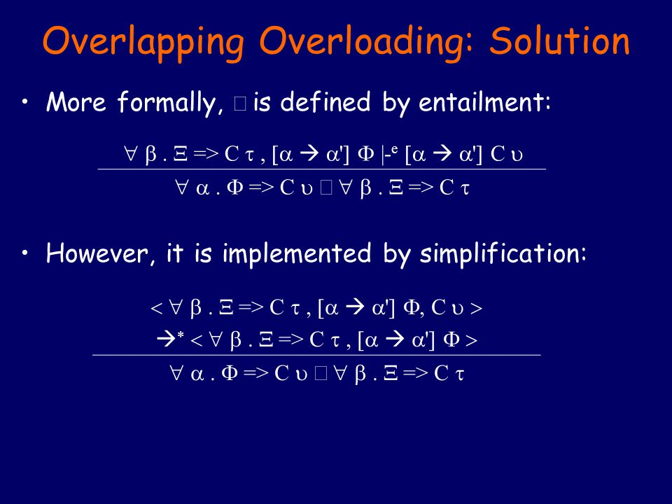 Overlapping Overloading: Solution More formally,  is defined by entailment: However, it is implemented by simplification:  =>  C     |- e     C   =>  C  =>  C   =>  C     C     =>  C      =>  C  =>  C 