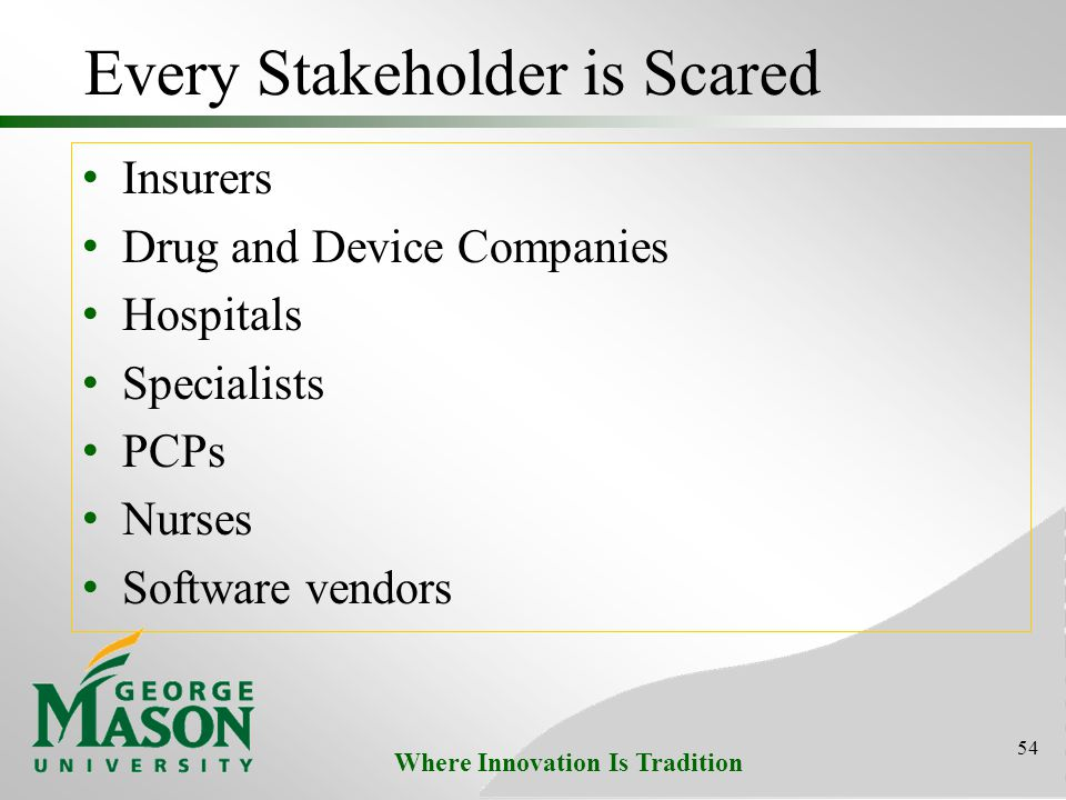 Where Innovation Is Tradition Every Stakeholder is Scared Insurers Drug and Device Companies Hospitals Specialists PCPs Nurses Software vendors 54