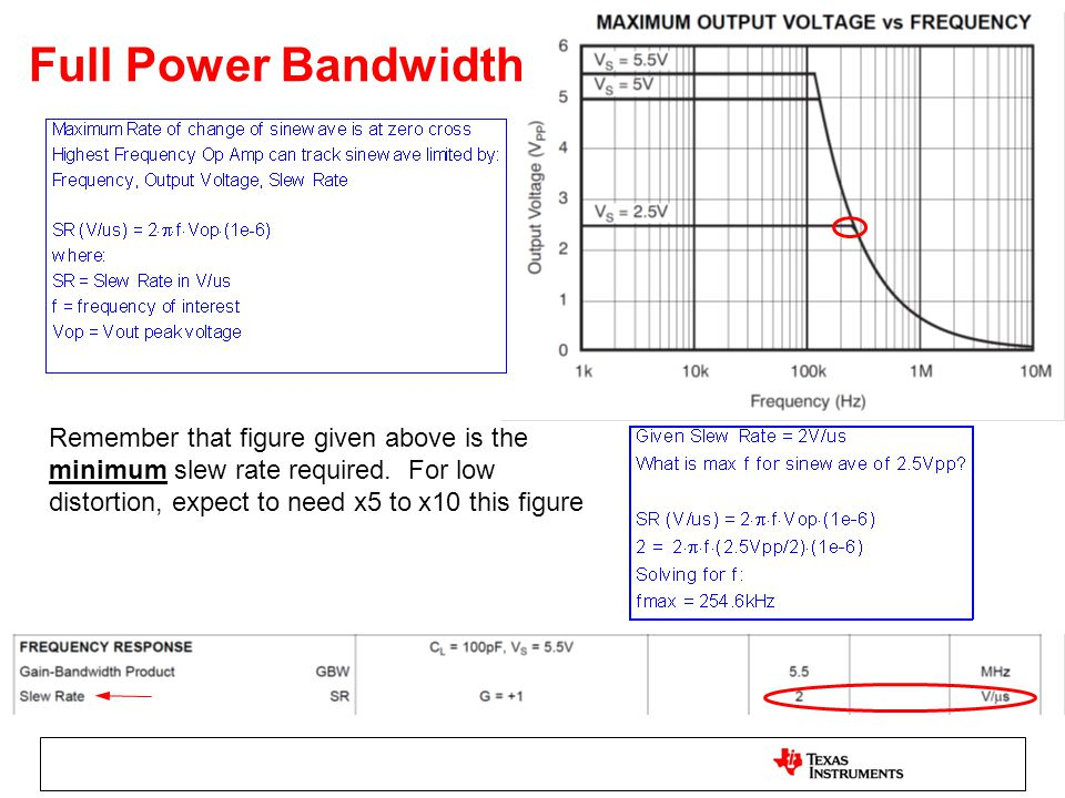 Full Power Bandwidth Remember that figure given above is the minimum slew rate required. For low distortion, expect to need x5 to x10 this figure