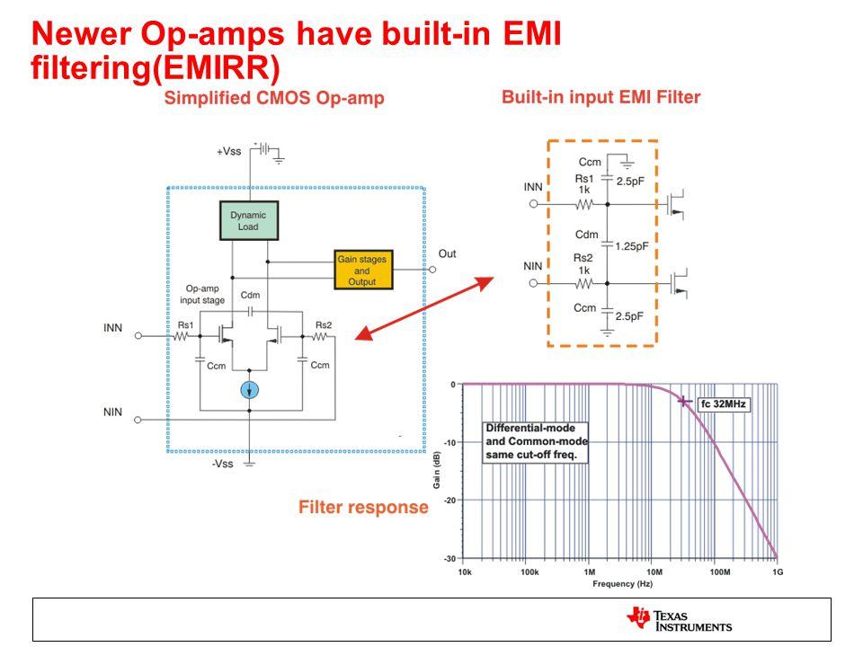 Newer Op-amps have built-in EMI filtering(EMIRR)