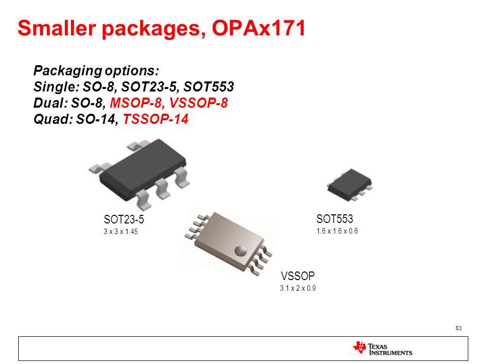 Smaller packages, OPAx171 53 Packaging options: Single: SO-8, SOT23-5, SOT553 Dual: SO-8, MSOP-8, VSSOP-8 Quad: SO-14, TSSOP-14 SOT23-5 3 x 3 x 1.45 V