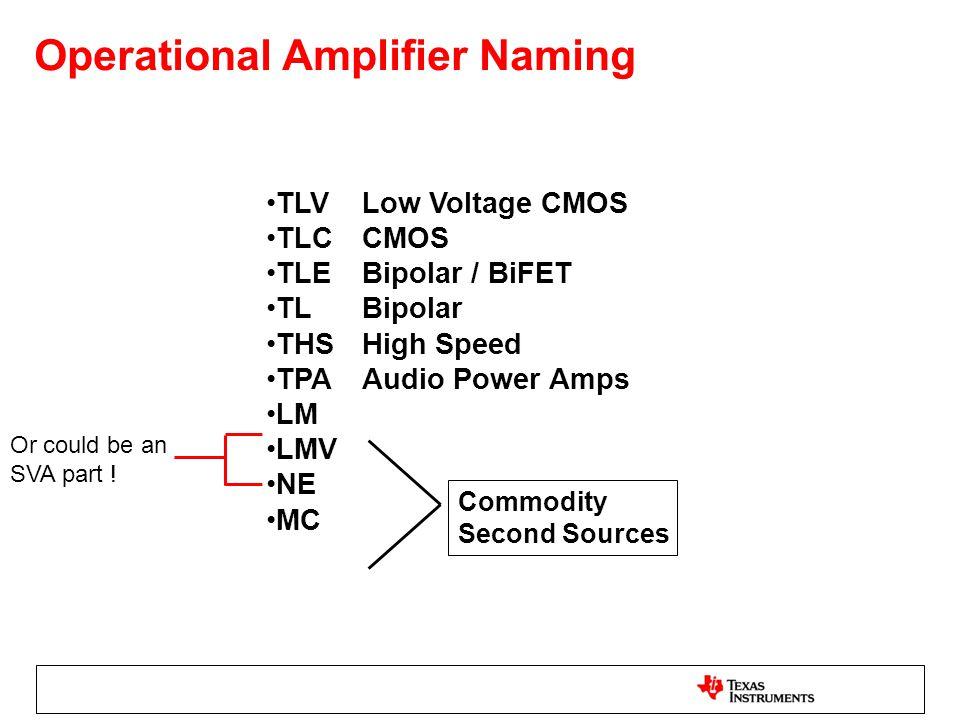 Operational Amplifier Naming TLVLow Voltage CMOS TLCCMOS TLEBipolar / BiFET TLBipolar THSHigh Speed TPAAudio Power Amps LM LMV NE MC Commodity Second