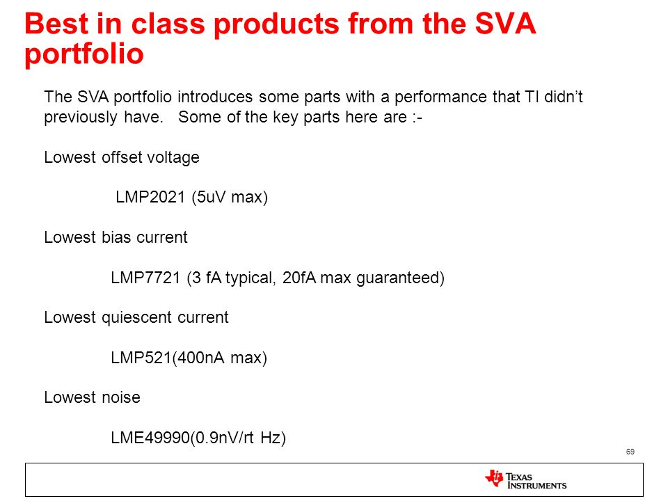 Best in class products from the SVA portfolio 69 The SVA portfolio introduces some parts with a performance that TI didn't previously have. Some of th