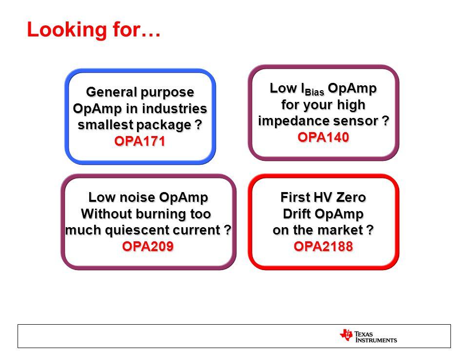 Looking for… General purpose General purpose OpAmp in industries OpAmp in industries smallest package ? smallest package ? OPA171 Low I Bias OpAmp Low