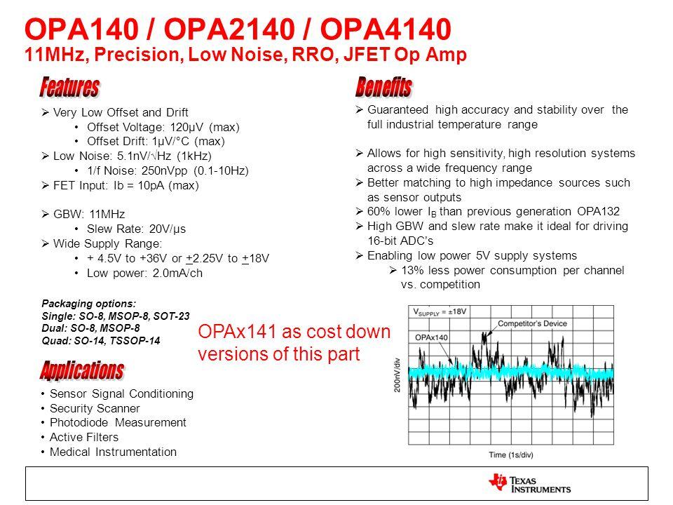  Very Low Offset and Drift Offset Voltage: 120μV (max) Offset Drift: 1µV/°C (max)  Low Noise: 5.1nV/√Hz (1kHz) 1/f Noise: 250nVpp (0.1-10Hz)  FET I