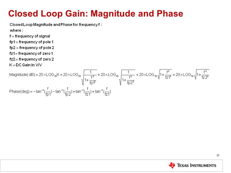 Closed Loop Gain: Magnitude and Phase 30