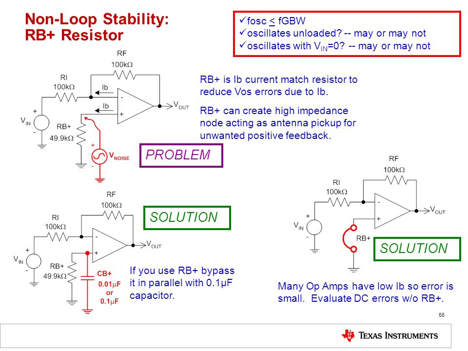 55 Non-Loop Stability: RB+ Resistor fosc < fGBW oscillates unloaded.
