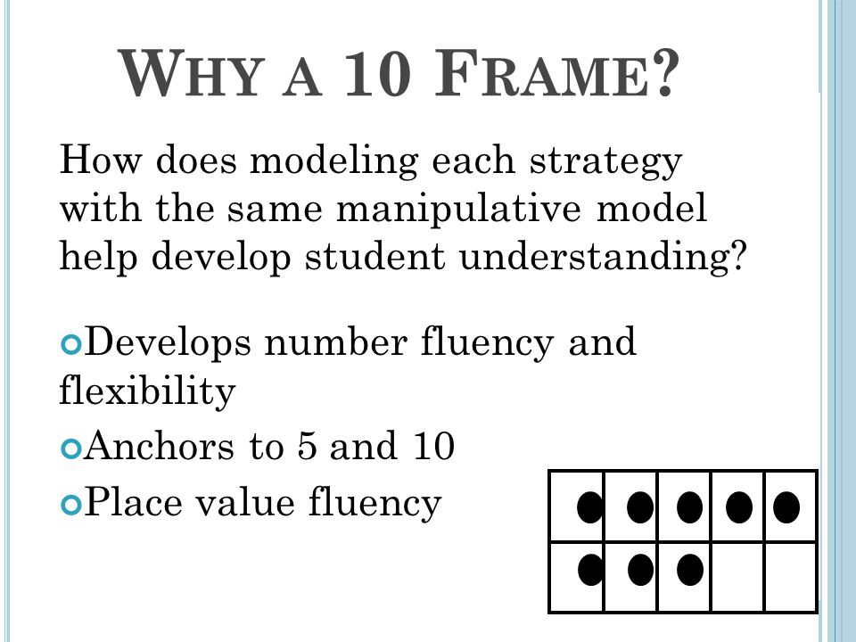 W HY A 10 F RAME ? How does modeling each strategy with the same manipulative model help develop student understanding? Develops number fluency and fl