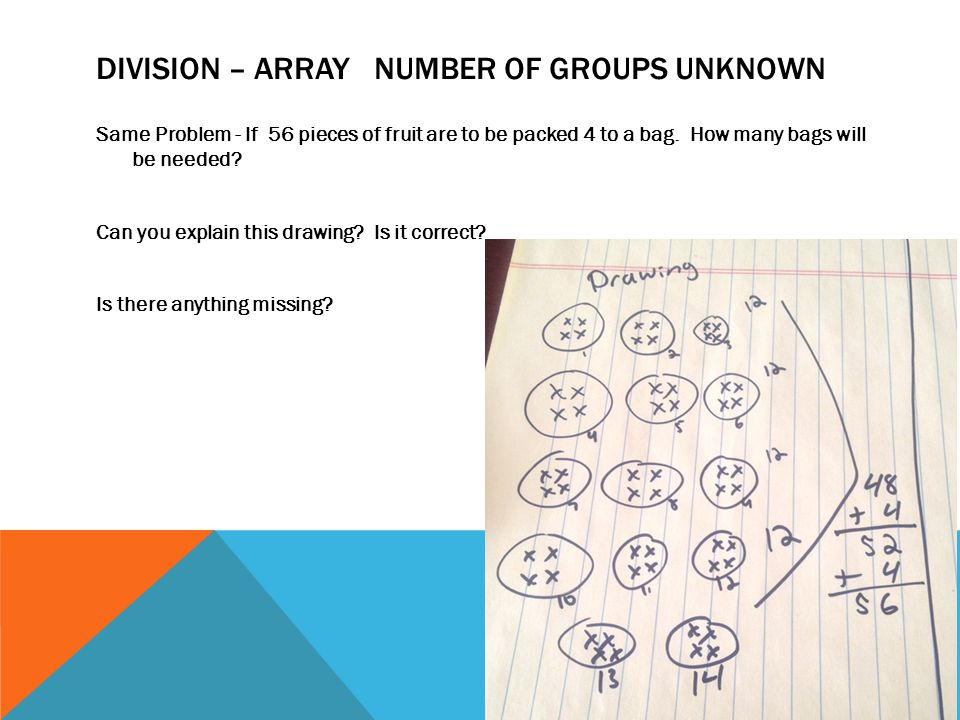 DIVISION – ARRAY NUMBER OF GROUPS UNKNOWN Same Problem - If 56 pieces of fruit are to be packed 4 to a bag. How many bags will be needed? Can you expl