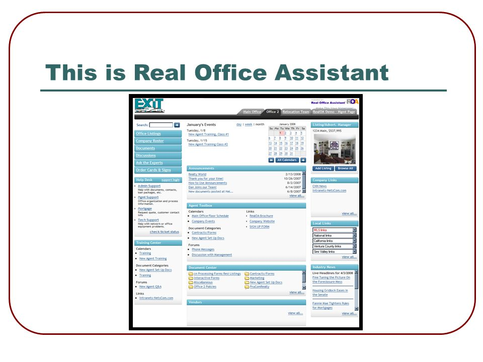 Testimonial – Keny Terracciano Real Office Assistants has become our company hub to allow our agents to communicate, view activities, and easily access all of our company information from any computer in the world.