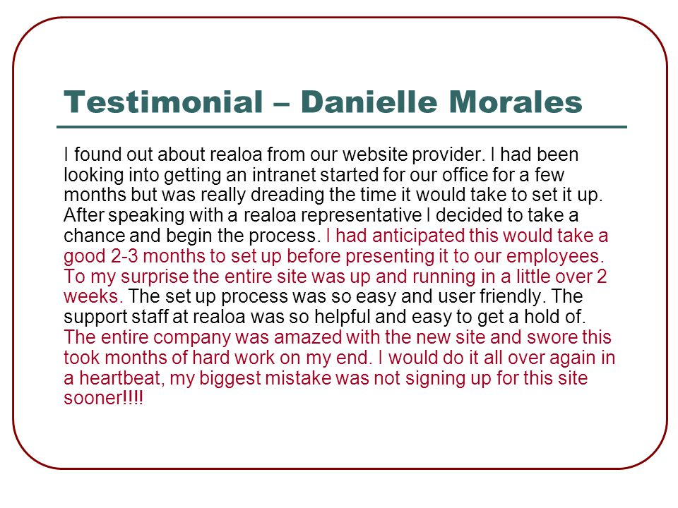 Testimonial – Nicholle Hernandez, EXIT Realty Premier Properties It is with pleasure that I send this testimonial for Real Office Assistant.