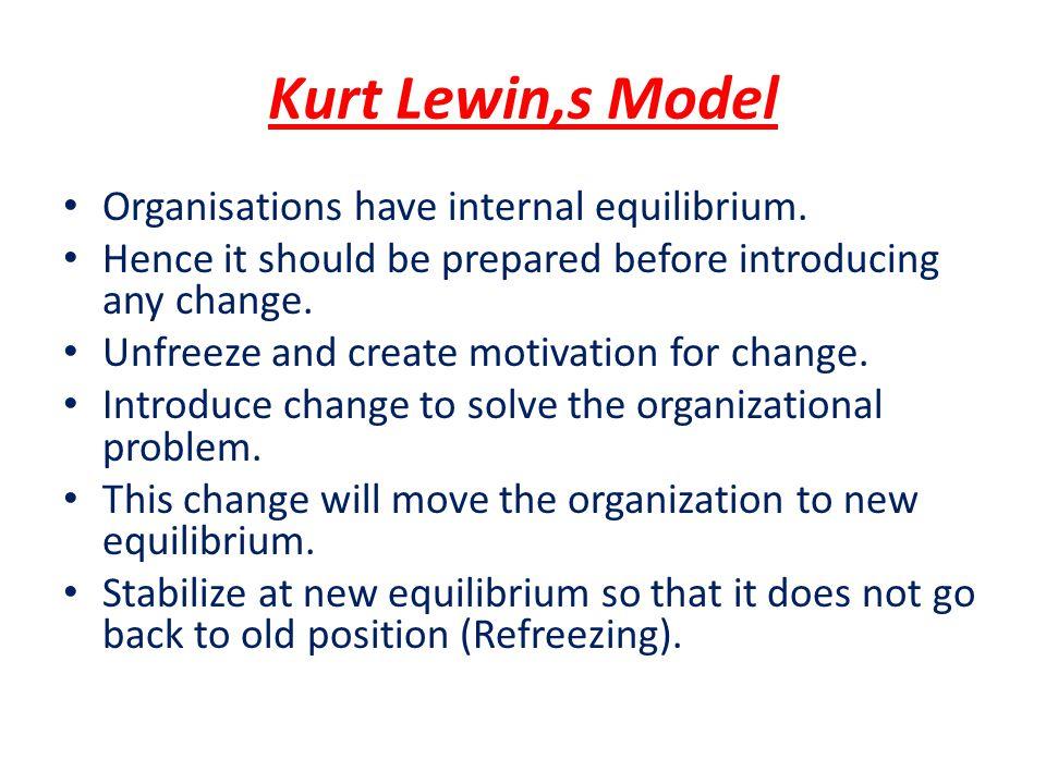 Kurt Lewin,s Model Organisations have internal equilibrium.