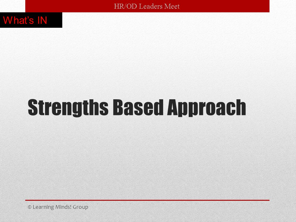 HR/OD Leaders Meet Strengths Based Approach © Learning Minds! Group What's IN