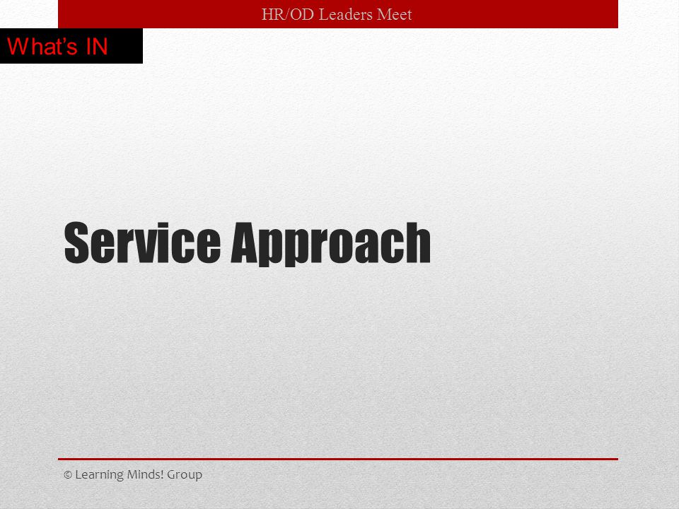 HR/OD Leaders Meet Service Approach © Learning Minds! Group What's IN