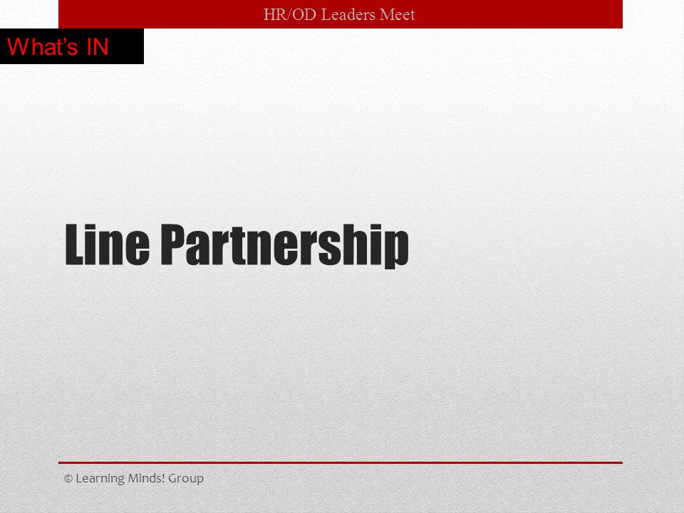 HR/OD Leaders Meet Line Partnership © Learning Minds! Group What's IN