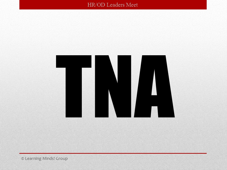 HR/OD Leaders Meet TNA © Learning Minds! Group