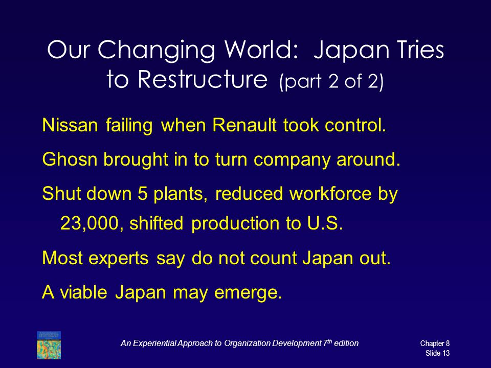 An Experiential Approach to Organization Development 7 th edition Chapter 8 Slide 13 Our Changing World: Japan Tries to Restructure (part 2 of 2) Niss